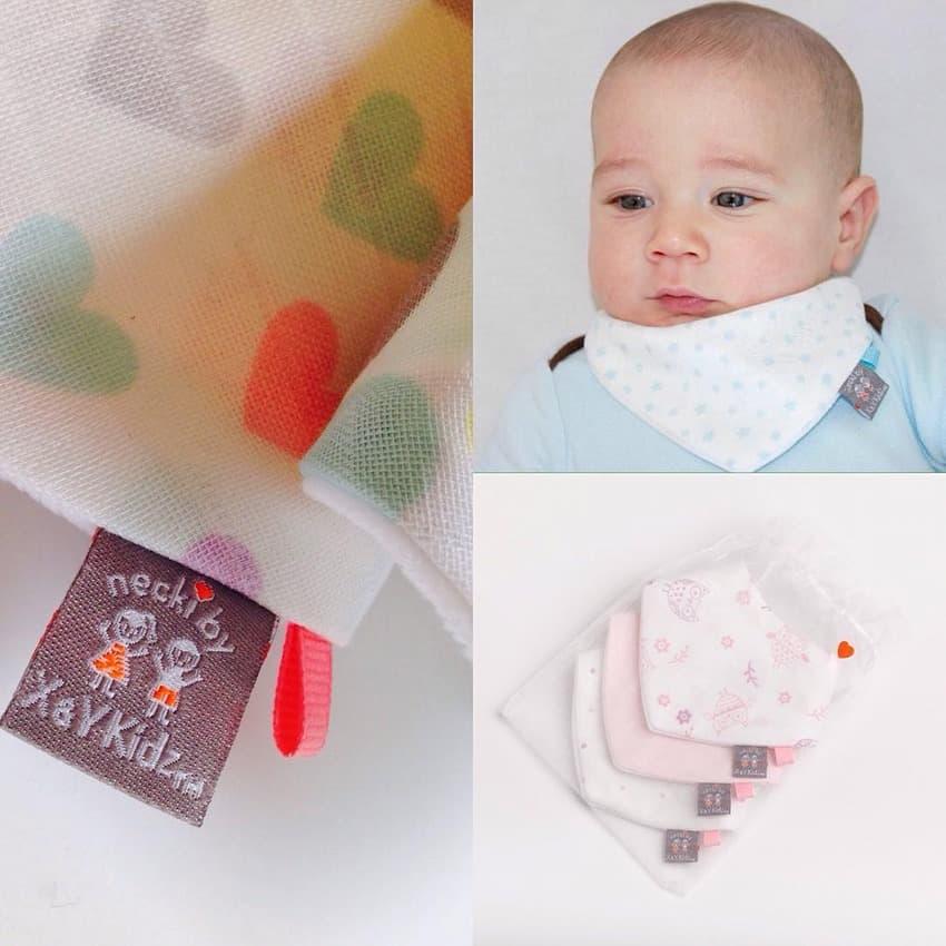 Baby bib, bandana bib, contest winner, woven fabric label
