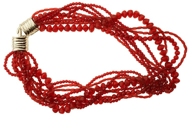 red beads necklace isolated on white