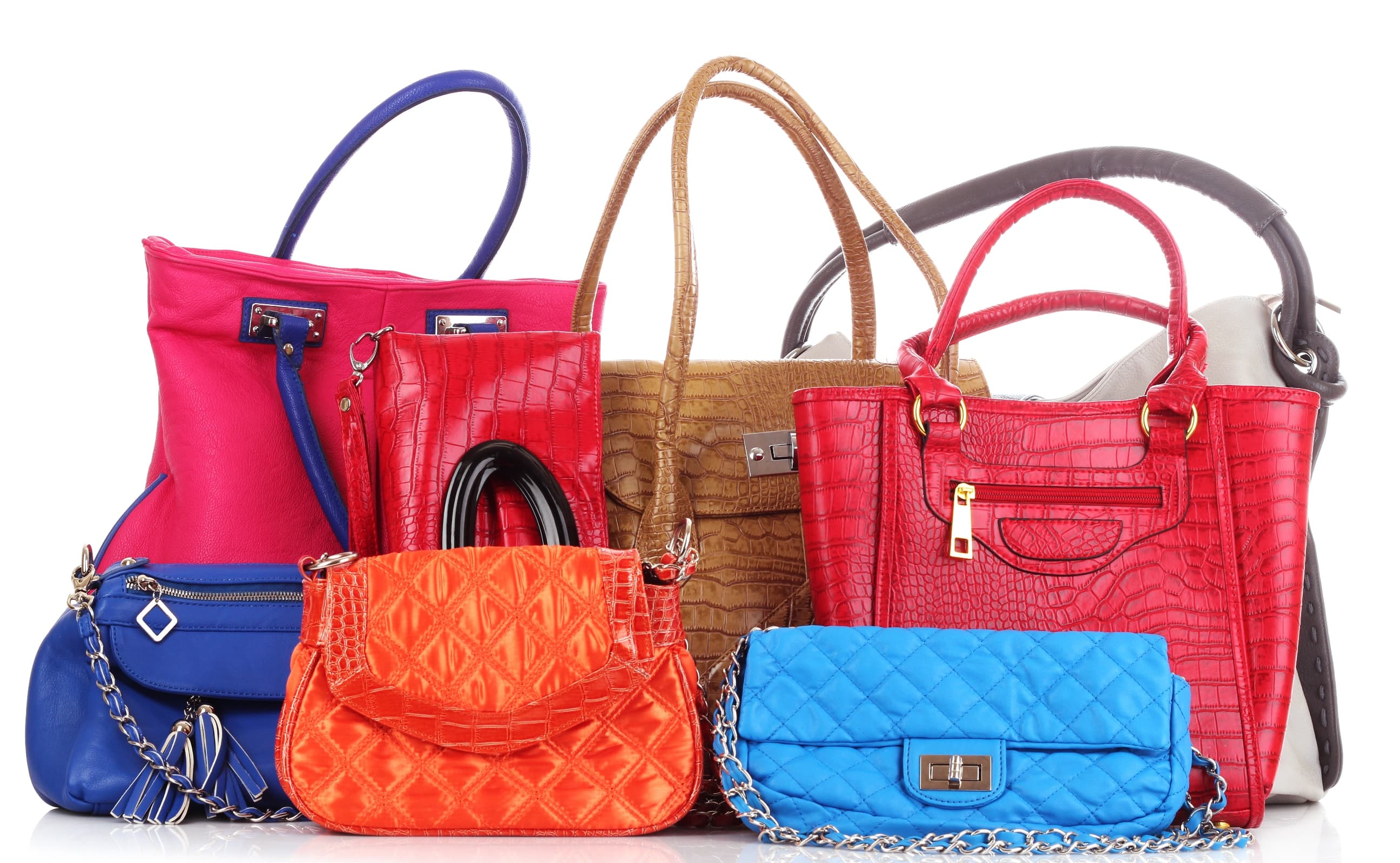 Many color women bags on white