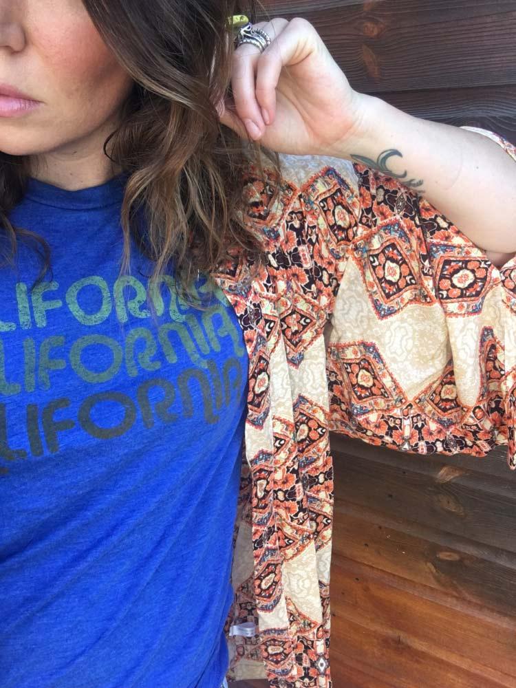 Boho, mom style, California style, kimono